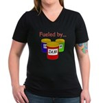 Fueled by Jam Women's V-Neck Dark T-Shirt