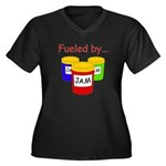 Fueled by Jam Women's Plus Size V-Neck Dark T-Shir