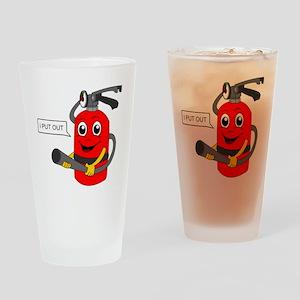 fire extinguisher cartoon Drinking Glass