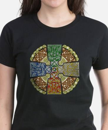 Celtic Cross Earth-Air-Fire-W Women's Dark T-Shirt