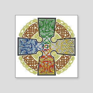 "Celtic Cross Earth-Air-Fire Square Sticker 3"" x 3"""