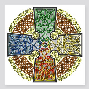 "Celtic Cross Earth-Air-F Square Car Magnet 3"" x 3"""