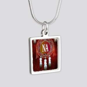 2-NA INDIAN Silver Square Necklace