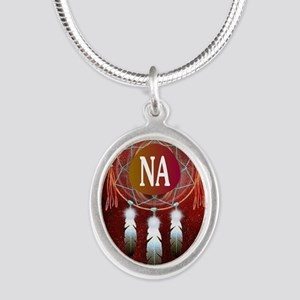 2-NA INDIAN Silver Oval Necklace