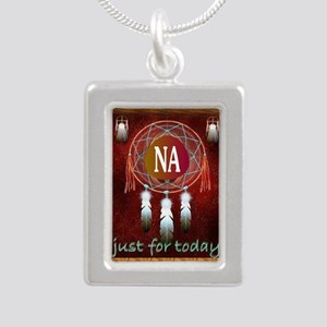 2-NA INDIAN Silver Portrait Necklace