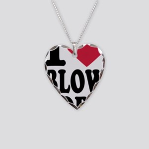 i_love_blowjobs_3lines Necklace Heart Charm