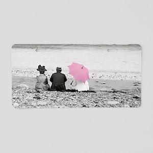Pink Parasol Aluminum License Plate