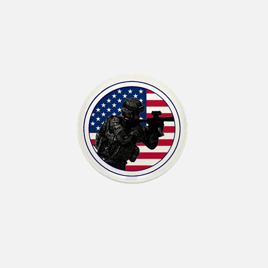Americansoldierroundlogo Mini Button