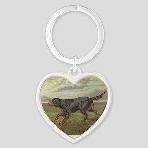 Setter antique print Heart Keychain