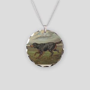 Setter antique print Necklace Circle Charm