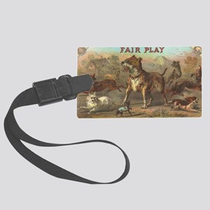 Pit Bull  dogs antique label Large Luggage Tag