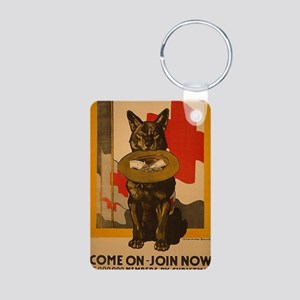 WWI Red Cross Dog Poster Aluminum Photo Keychain