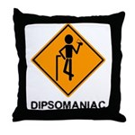 Caution Dipsomaniac Throw Pillow