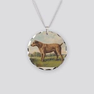 Irish Terrier antique print Necklace Circle Charm