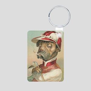 Cute Dog Jockey Aluminum Photo Keychain