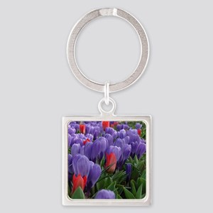 Purple  Red Tulips at Keukenhof Ga Square Keychain