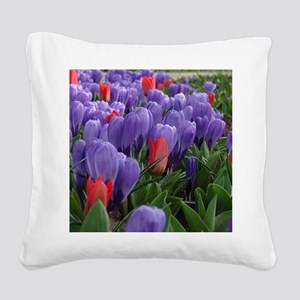 Purple  Red Tulips at Keukenh Square Canvas Pillow
