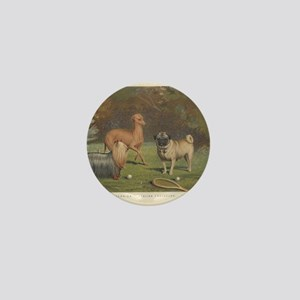 Dogs antique print Mini Button