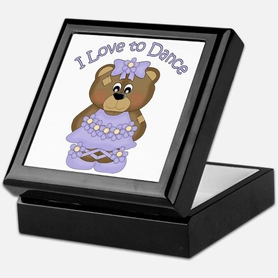 I Love to Dance Ballerina Bear Lavend Keepsake Box