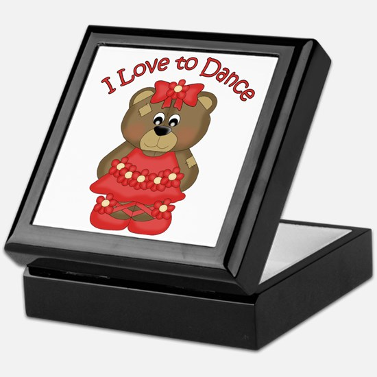 I Love to Dance Ballerina Bear Red Keepsake Box