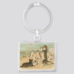 Cats at the Beach Landscape Keychain