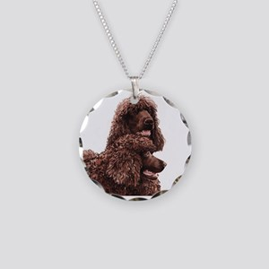 Irish Water Spaniel 5x5 Necklace Circle Charm