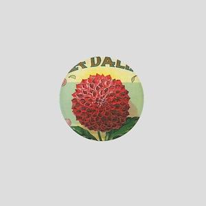 Dahlia Flower antique label Mini Button