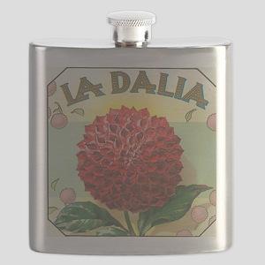 Dahlia Flower antique label Flask