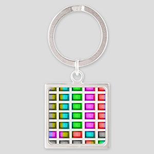 t.v. sno color bars Square Keychain