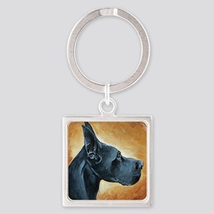 Great Dane Black Square Keychain