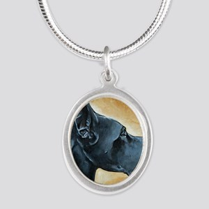 Great Dane Black Silver Oval Necklace