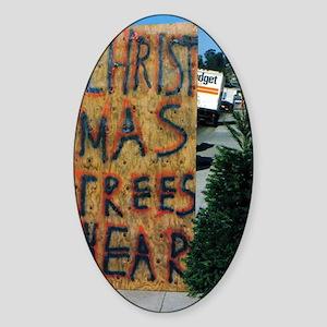 christmas trees hear 5X7 Sticker (Oval)