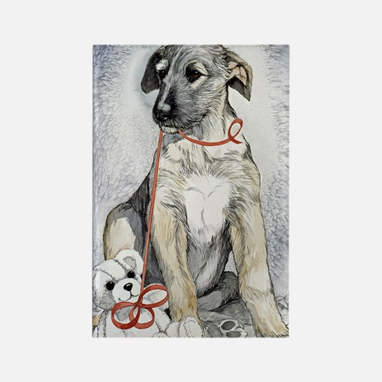 Irish Wolfhound and Teddy Rectangle Magnet