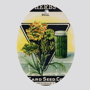 Dill Herbs antique seed packet Oval Ornament