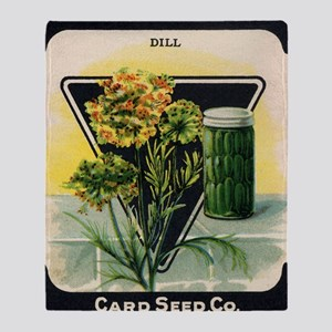Dill Herbs antique seed packet Throw Blanket