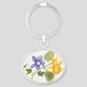 columbine-and-violet Oval Keychain