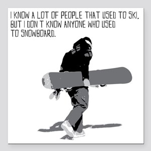 """Snowboarder Square Car Magnet 3"""" x 3"""""""