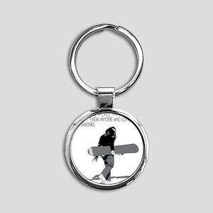 Snowboarder Round Keychain
