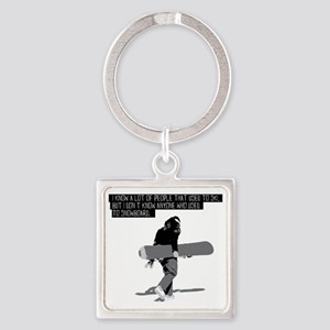 Snowboarder Square Keychain