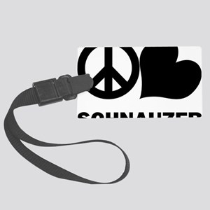 FIN-peace-love-schnauzer-CROP Large Luggage Tag