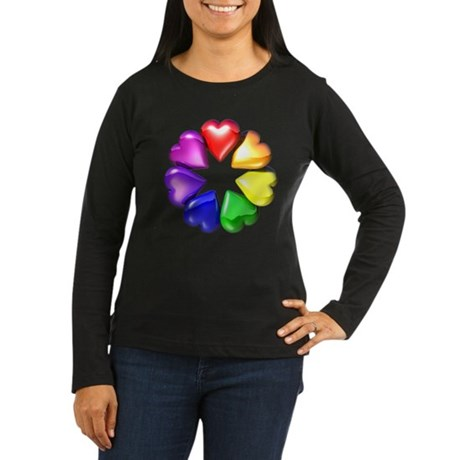 Rainbow Ring Hearts Women's Long Sleeve Dark T-Shi