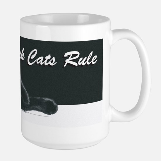Black Cats Rule 2 Large Mug