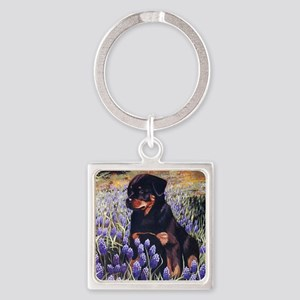 Rottweiler Pup in Flowers Square Keychain