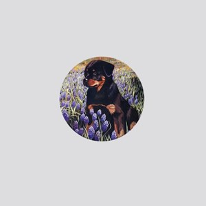 Rottweiler Pup in Flowers Mini Button