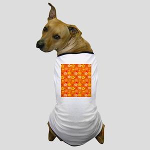Orange Floral Pop Art Dog T-Shirt
