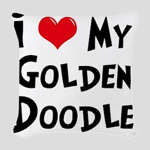 I-Love-My-Golden-Doodle Woven Throw Pillow
