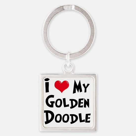 I-Love-My-Golden-Doodle Square Keychain