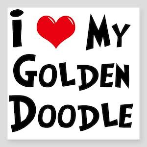 """I-Love-My-Golden-Doodle Square Car Magnet 3"""" x 3"""""""