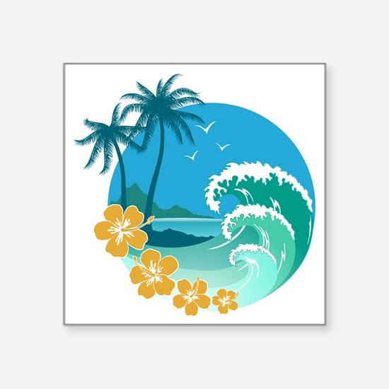 "Beach1 Square Sticker 3"" x 3"""
