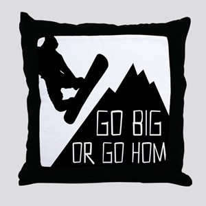 Snowboarder Go Big Throw Pillow